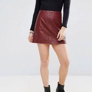 Free People Zip Vegan Leather Mini Skirt